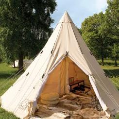 sov i tipi eller telt