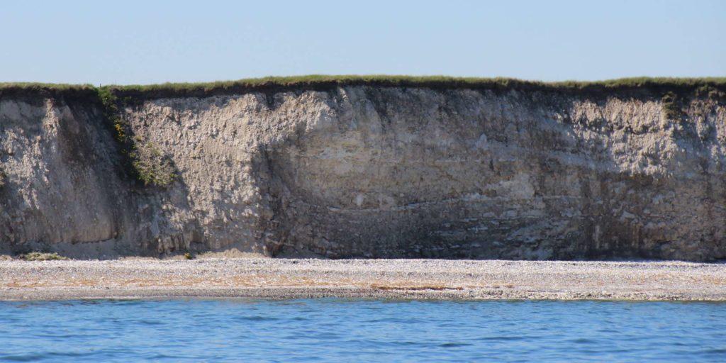 Sangstrup klint er op til 15 m høj og dannet over en periode på 5 mio. år for 60 mio år siden.